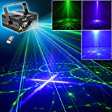 SUNY Professional Green Blue Laser Blue LED 24 Gobos Effect Stage Light for DJ Disco Store Home Show Birthday Party Wedding Stage Lighting Projector