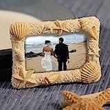 "Pretty BEACH Themed PHOTO FRAME - 2.75"" x 3.5"" Photo Frame - SAND-Like Texture Molded STARFISH & SEASHELLS - GIFT Poly-Resin -Vacation Photo -BOXED"