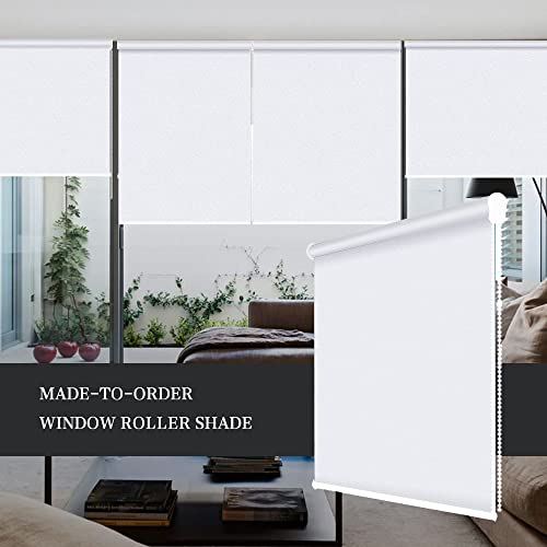 ZY Blinds Blackout Roller Shades Custom Made Any Size from 20-78inch Wide UV Protection Enery Saving Block 100 Light Window Shades Blinds for Home, Hotel, Club, Restaurant Custom Size, White