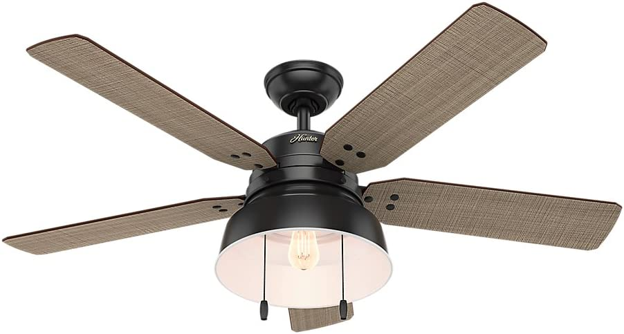 Hunter Indoor / Outdoor Ceiling Fan with light and pull chain control - Mill Valley 52 inch, Black, 59307