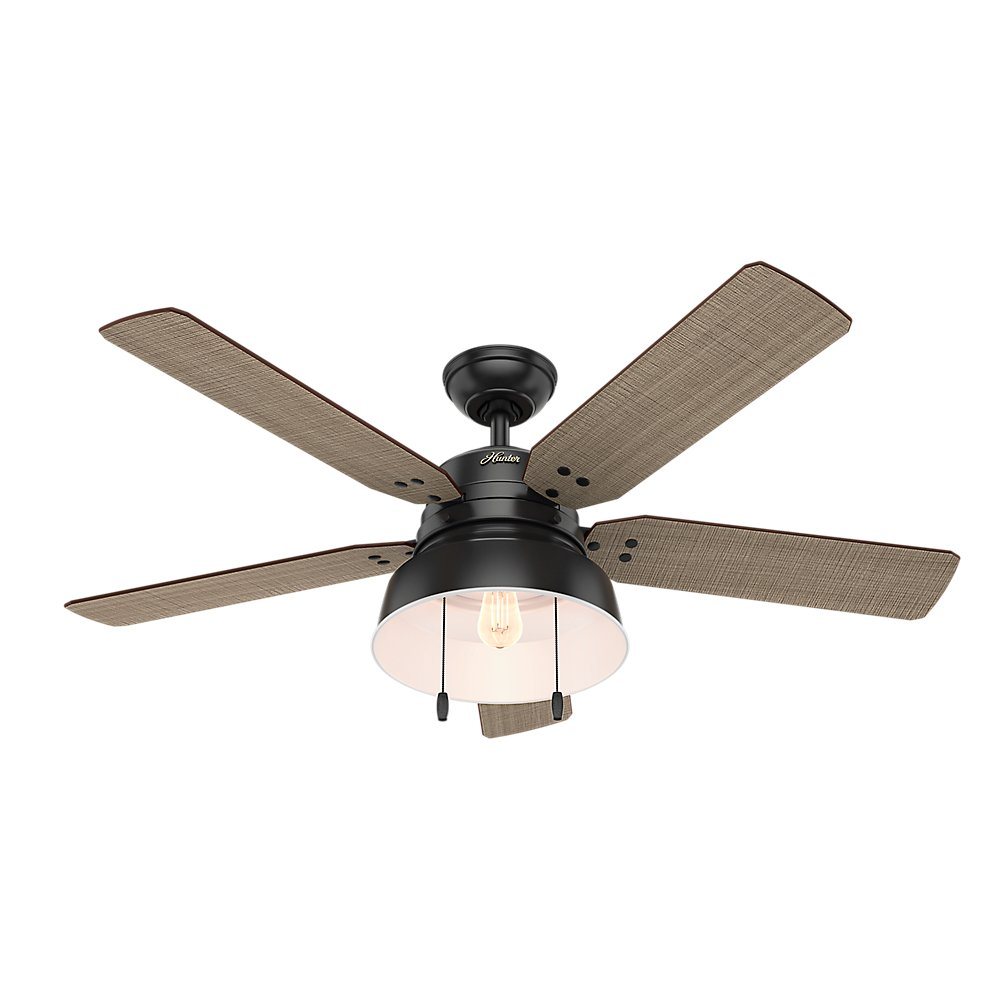 Hunter Indoor Outdoor Ceiling Fan with light and pull chain control – Mill Valley 52 inch, Black, 59307