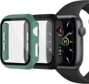 XFEN 2 Pack Hard Overall Protective Snap on Case with Tempered Glass Screen Protector Compatible with Apple Watch Series 6 SE Series 5 Series 4 40mm, All Around Matte Hard Cover (Black+Pine Green)