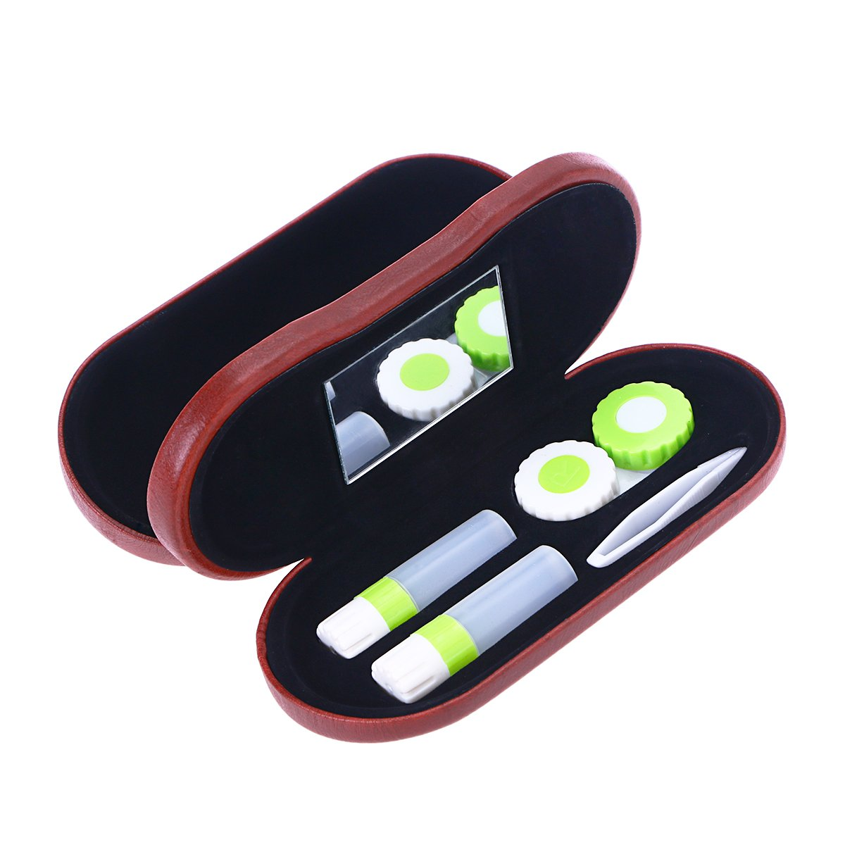 ULTNICE 2-in-1 Portable Eyeglass Case Contact Lens Case Double Use for Home Travel Kit (Red)