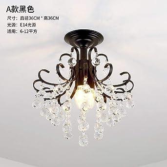 Lámpara de araña decorativa de cristal de escalera americana pasillo porche hogar lámpara de techo/Jin Yu Man Tang [Negro] E14 * 3_Sin bombilla: Amazon.es: Iluminación