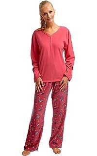 Ex M*S Ladies Cotton Long Sleeve Pyjama Set Blue Grey Size 10-20