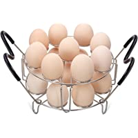 Maxracy Stackable Egg Steamer Rack Trivet 9 holes with Heat Resistant Handles for Instant Pot Accessories Stainless…