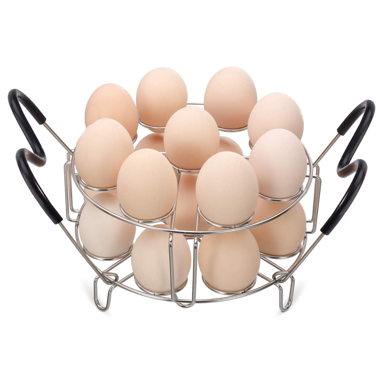 Maxracy Stackable Egg Steamer Rack Trivet 9 holes with Heat Resistant Handles for Instant Pot Accessories Stainless Steel Egg Assit fits 6qt 8qt Pressure Cooker(9 Holes Handle Set)