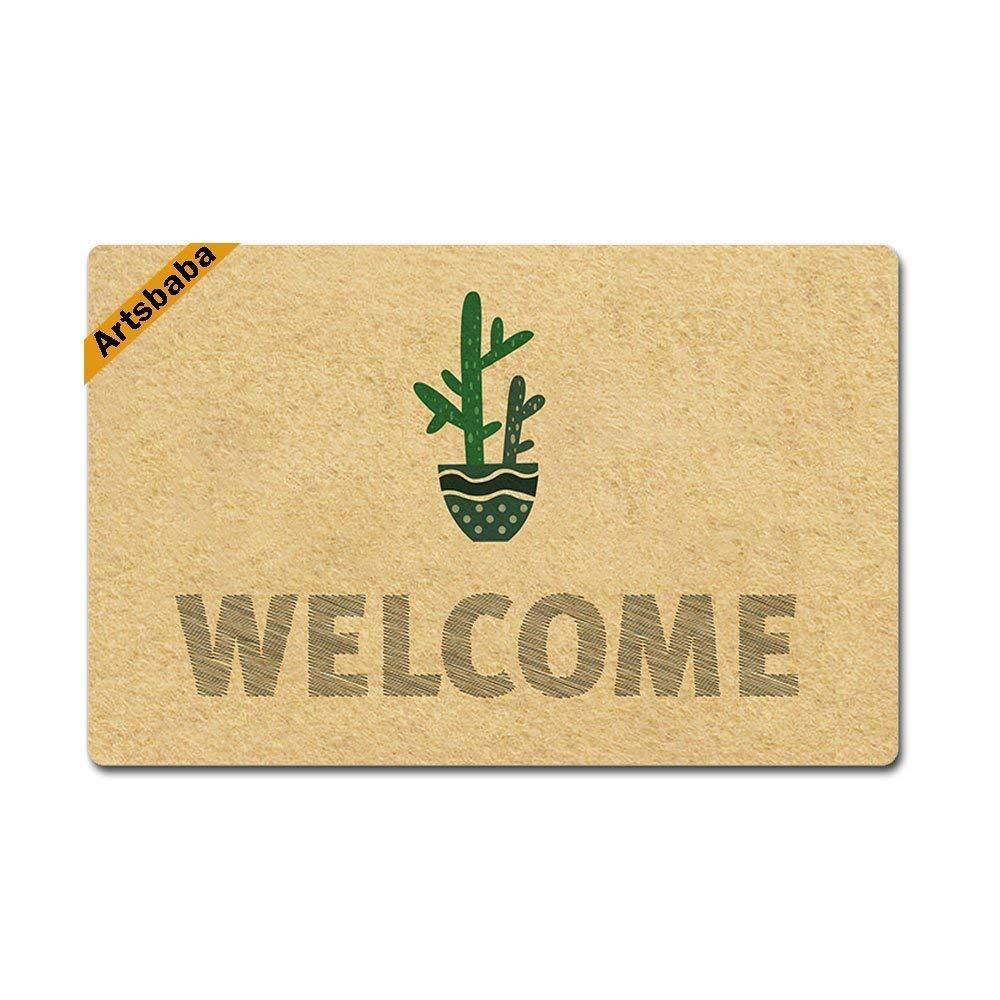 zengjiansm Felpudos Welcome Doormat Cactus Rubber Non-Slip Entrance Rug Floor Funny Home Decor Indoor Mats 23.6 x15.7 Inches