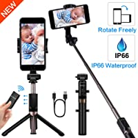 Yokkao Aluminum Alloy Water-Resistant Selfie Stick Extended Phone Mount Detachable Bluetooth Remote Control   Collapsible Rugged Built-in Tripod / Monopod   iPhone 6/7/8/Plus/X/Xs, Samsung S4/S6/S7/S8/S9 + More