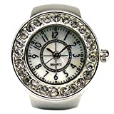 Womens Crystal Quartz Finger Ring Watch with Gift Box