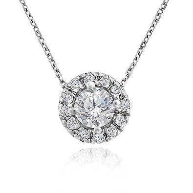 43d7d1de50b Amazon.com  Voss+Agin Womens Genuine Diamond Halo Pendant Necklace (.50  CTW) in 14k White Gold