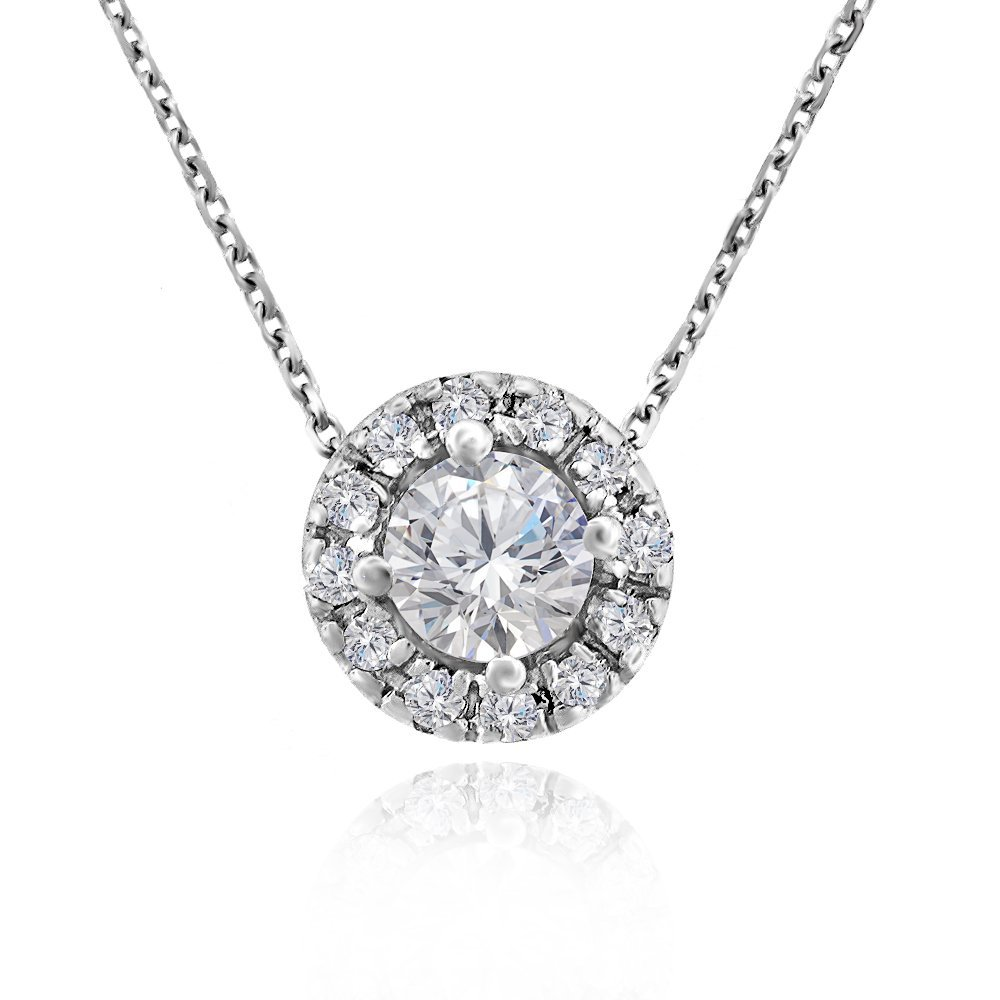 Voss+Agin Womens Genuine Diamond Halo Pendant Necklace (.50 CTW) in 14k White Gold, 16''