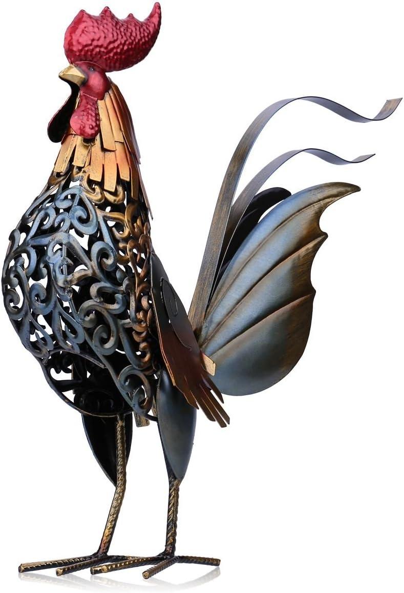 Tooarts Escultura Metálica Hecha a Mano - Gallo - Aparatos Tallados de Hierro Decorativo para la Decoración del Hogar (Obra de Artesanía)