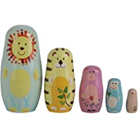 HOMYL 5pcs Tiger Owl Monkey Animals Pattern Wooden Nesting Dolls Matryoshka Russian Dolls