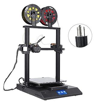 3DプリンタAcouto最新機種2色印刷4.3インチタッチスクリーン付き物取り易い組立簡単高精度3Dプリンタキット高速印刷自動レベリング2冷却ファン付き(米国プラグ)