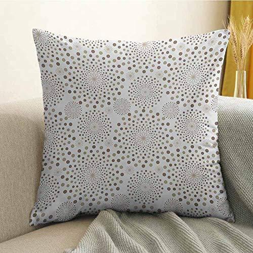 FreeKite Geometric Bedding Soft Pillowcase Geometrical Floral Patterns Dots Monochromic Classic Nostalgia Circles Hypoallergenic Pillowcase W18 x L18 Inch Warm Taupe Cocoa