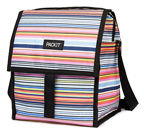 (PackIt Freezable Deluxe Large Lunch Bag with Shoulder Strap Blanket Stripe)
