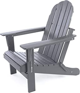 Folding Adirondack Chair, Patio Outdoor Chairs, HDPE Plastic Resin Deck Chair, Painted Weather Resistant, for Deck, Garden, Backyard & Lawn Furniture, Fire Pit, Porch Seating by Gettati Slate Gray