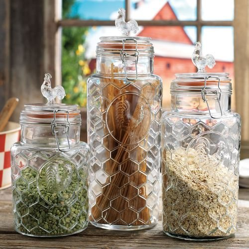 Set of 3 Glass Rooster Canister Assorted Size Jars with Lid Kitchen Jars Set with Rooster Figure - Food Storage Containers, Trigger Locking Lids, Embossed Rooster, Pantry Ware, Airtight with Locking Clamps, Assorted Sizes ()