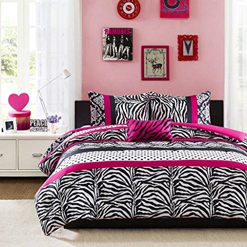 Mi-Zone Reagan Comforter Set King/Cal King Size - Pink, Zebra Polka Dot - 4 Piece Bed Sets - Ultra Soft Microfiber Teen Bedding for Girls - Hot Bed Dot