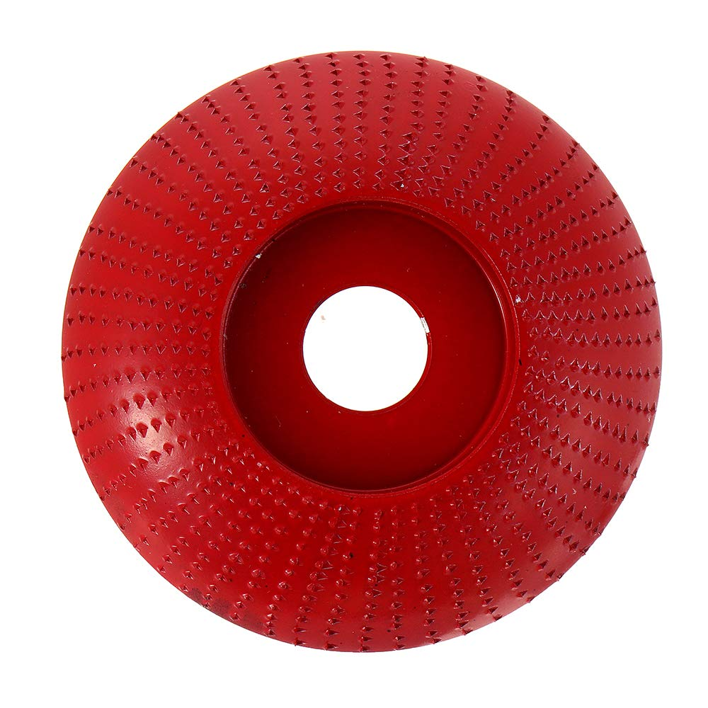 ZOYOSI 110mm Tungsten Carbide Arc Wood Shaping Disc Carving Disc 22mm Bore Sanding Grinder Wheel for 115 125 Angle Grinder - Red Gold