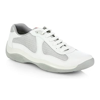 6769cdc8c89e0 Prada Leather America's Cup Mesh White Trainers 7.5: Amazon.co.uk: Shoes &  Bags