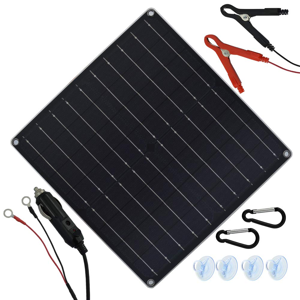 20 Watt 12 Volt Solar Trickle Charger 20W 12V Solar Panel Car Battery Charger Portable Solar Battery Maintainer with Cigarette Lighter Plug & Alligator Clip & O-Ring Terminal for Car Boat Motorcycle by TP-solar