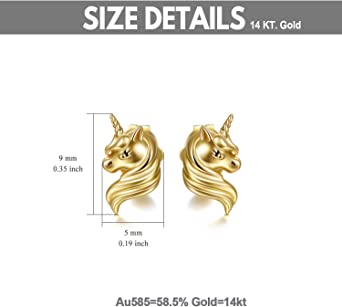 STUDStud Earrings with 14 mm brass for children Unicorn