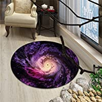Galaxy small round rug Carpet Purple Nebula Cloudy Stardust Cluster Digital Print of a Galaxy in Space ImageOriental Floor and Carpets Black Purple
