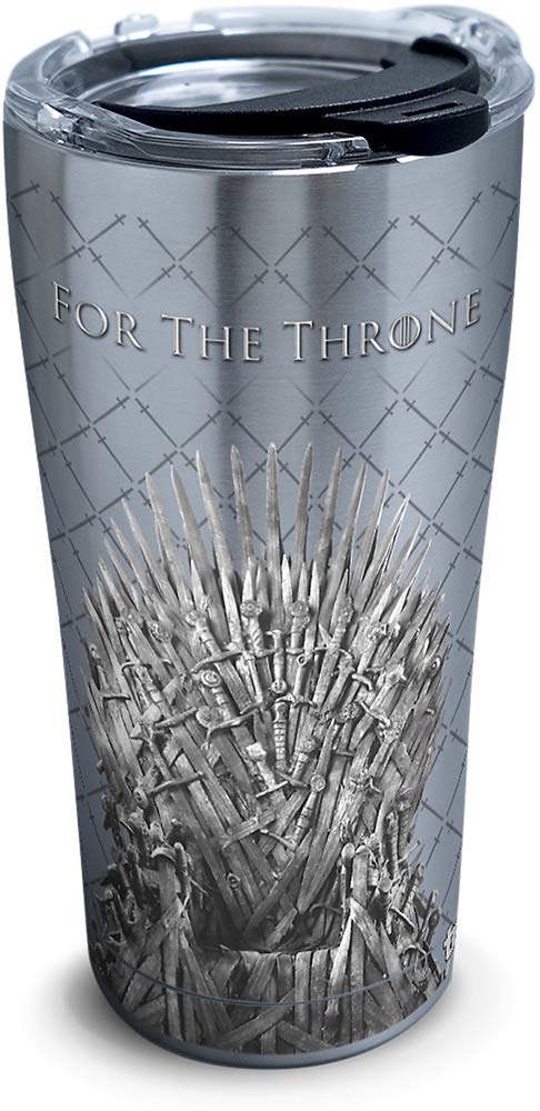Tervis 1325307 HBO Game of Thrones - For The Throne Insulated Travel Tumbler & Lid, 20 oz - Stainless Steel, Silver