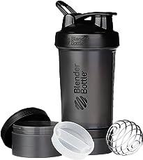 BlenderBottle ProStak sistema con 22-ounce botella de almacenamiento de y Twist N 'Lock, Completamente negro, 22 oz, 1