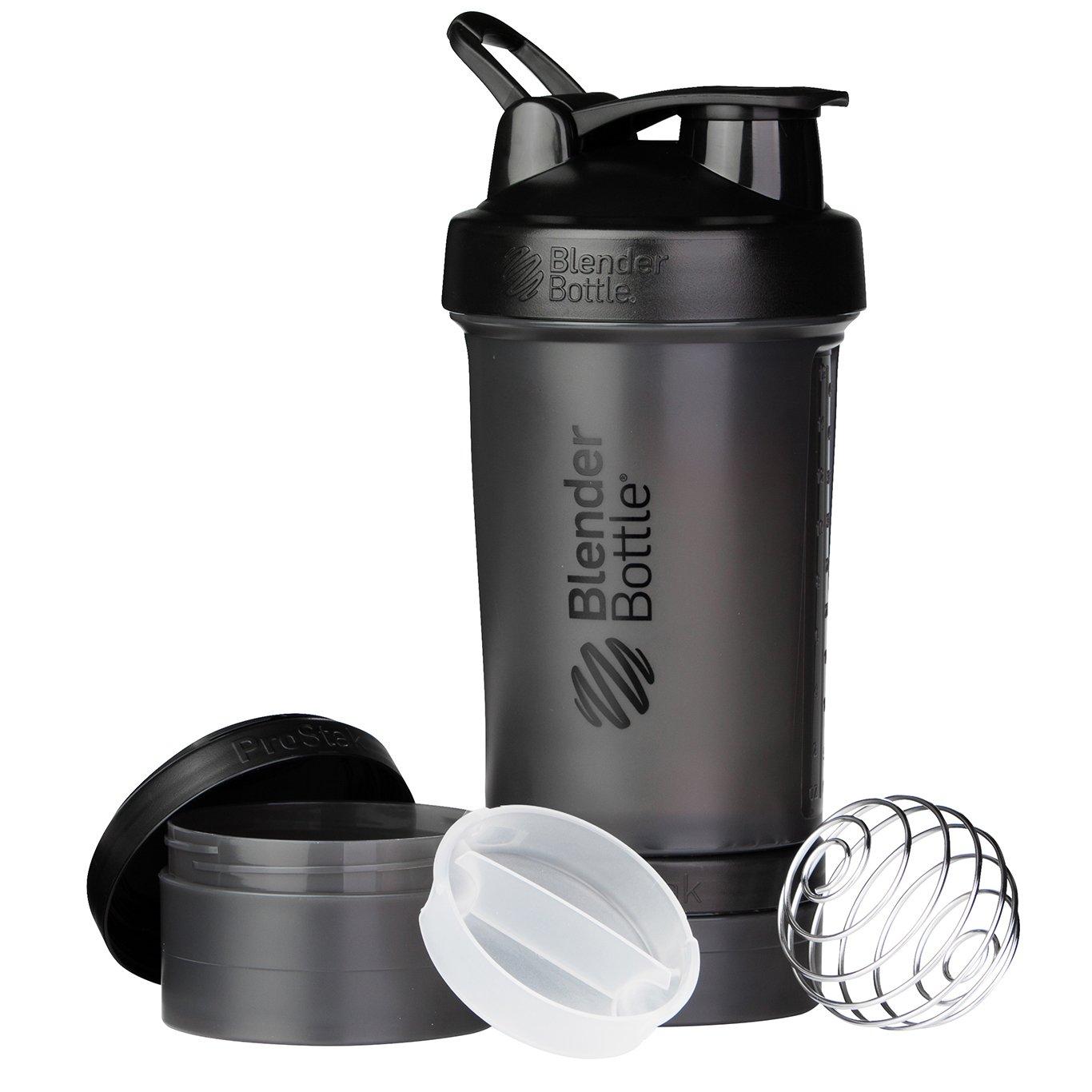 BlenderBottle ProStak System with 22-Ounce Bottle and Twist n' Lock Storage, All Black by Blender Bottle (Image #1)