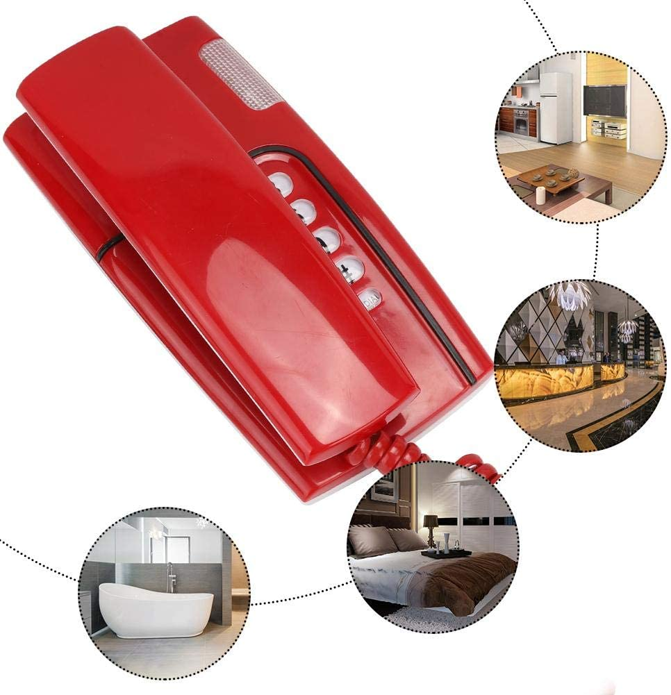 Red ASHATA Corded Telephone Wall Telephone Wired English Landline Corded Desktop Wall Phone,Office Home Fixed Telephone Mini Telephone with Fast Flash Function