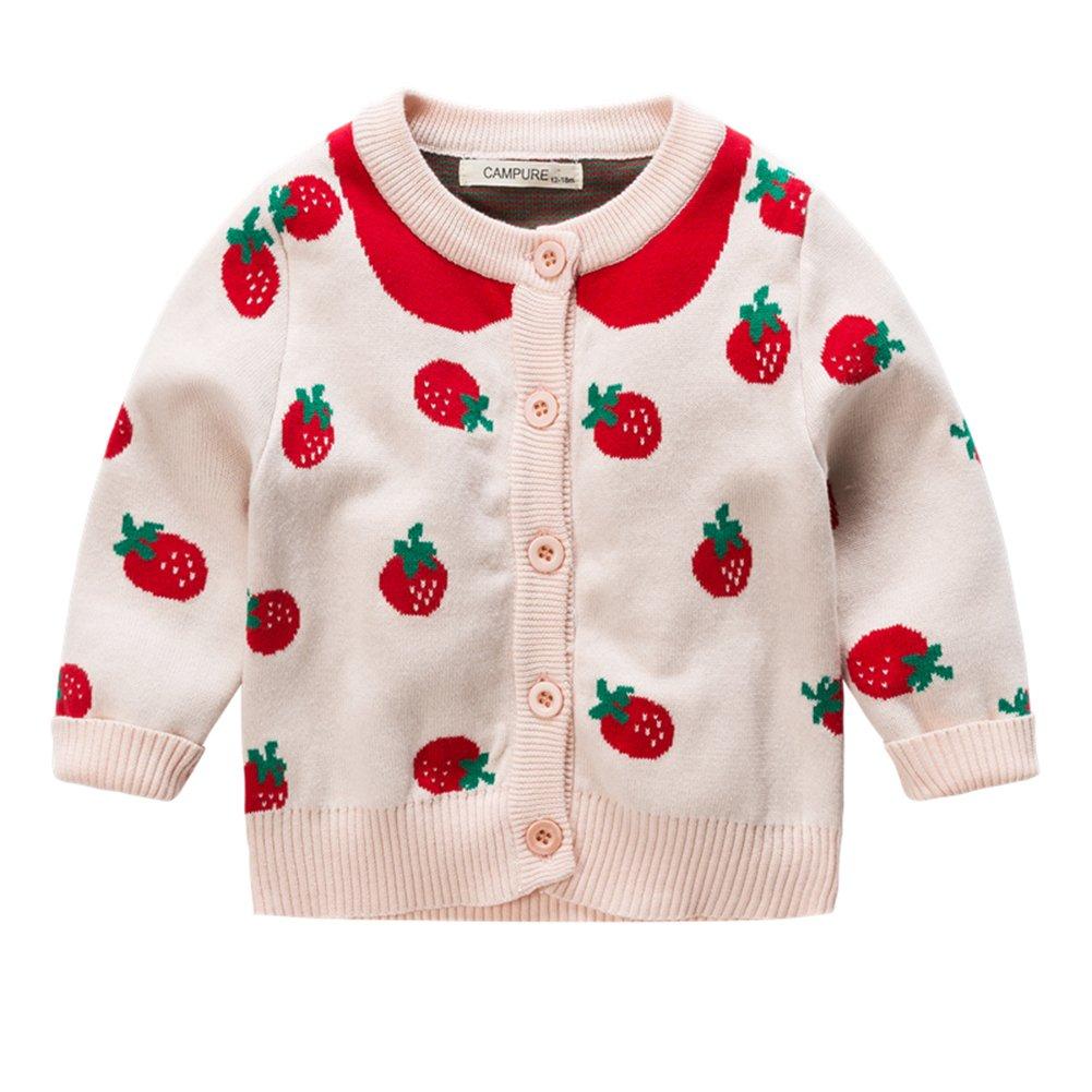 fd6a46eb06c1f Amazon.co.jp: Fairy Baby 女の子 ニットカーディガン イチゴ柄 ニット編み セーター 長袖 ベビー服 キッズ お出かけ  size 90  ベビー マタニティ