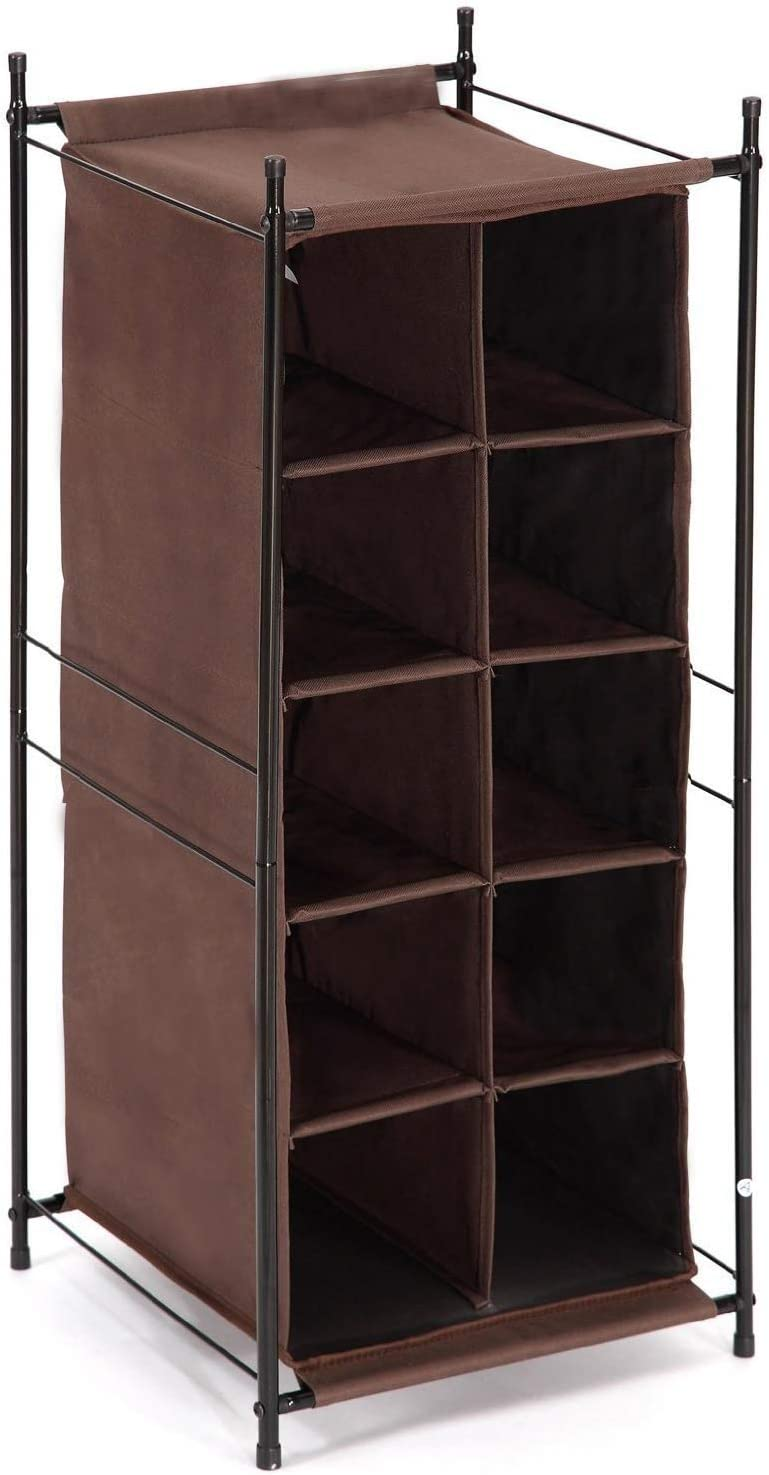 Storage Maniac 5 Tier 10 Compartment Shoe Cubby Rack Organizer Free Standing Shoe Cube For Closet Entryway Front Door Brown Home Kitchen