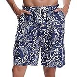 Hawiton Men's Beachwear Trunks Pattern Swim Shorts Quick Dry Board Swimwear
