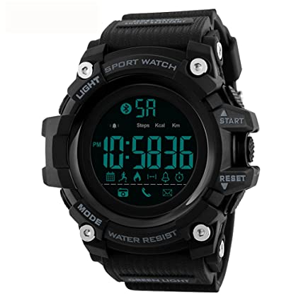Tayhot Mens Digital Smart Sport Watch,5ATM Waterproof Outdoor Bluetooth Smart Watch Chronograph Alarm LED Back Light Military Large Face Electronic ...