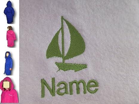 Albornoz con capucha infantil con barco de Logo de tu elección, edad 8 en rosa