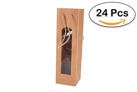 DISOK Lote de 24 Bolsas para Botella Vino Kraft con Ventana - Bolsas para Vino, Originales, Bonitas de Papel, Cartón, Marrones, Kraft
