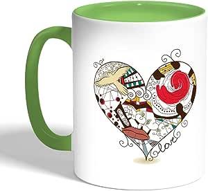 كوب سيراميك للقهوة، لون اخضر، بتصميم رومانسي - قلب