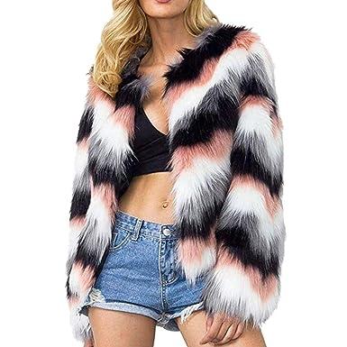 f24797c9f7 SONGANG Women Multicolor Winter Long Sleeve Faux Fur Coat Warm Parka  Outwear Open Front Jacket (