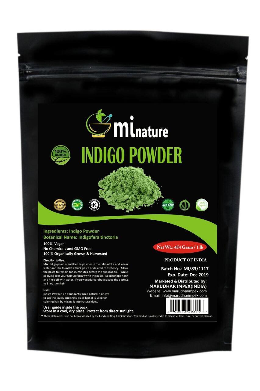mi nature Indigo Powder -INDIGOFERA TINCTORIA,(100% NATURAL, ORGANICALLY GROWN) 1 LB (454 grams/16 ounces) RESEALABLE BAG by mi nature (Image #1)