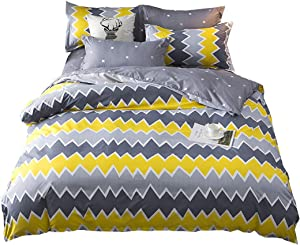 Nattey Simple Duvet Cover Set with Zipper Bedding Set,Geometric Triangle Pattern Gray Yellow Color (Full, Yellow)