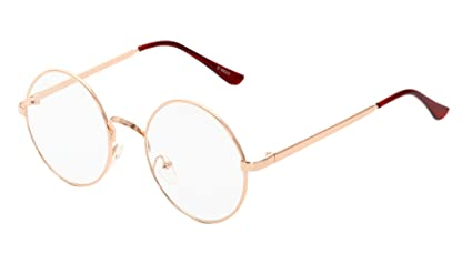 ef97f83a6b0b Image Unavailable. Image not available for. Colour  MaxAike 1 Retro Metal  Frame Clear Lens Round Glasses Plain Mirror 53mm 53mm (Rose