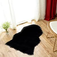 Carvapet Luxury Soft Faux Sheepskin Chair Cover Seat Cushion Pad Plush Fur Area Rugs for Bedroom