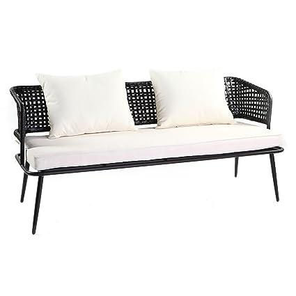 Miliboo - Banco de jardín, de hilos de resina, color: negro ...
