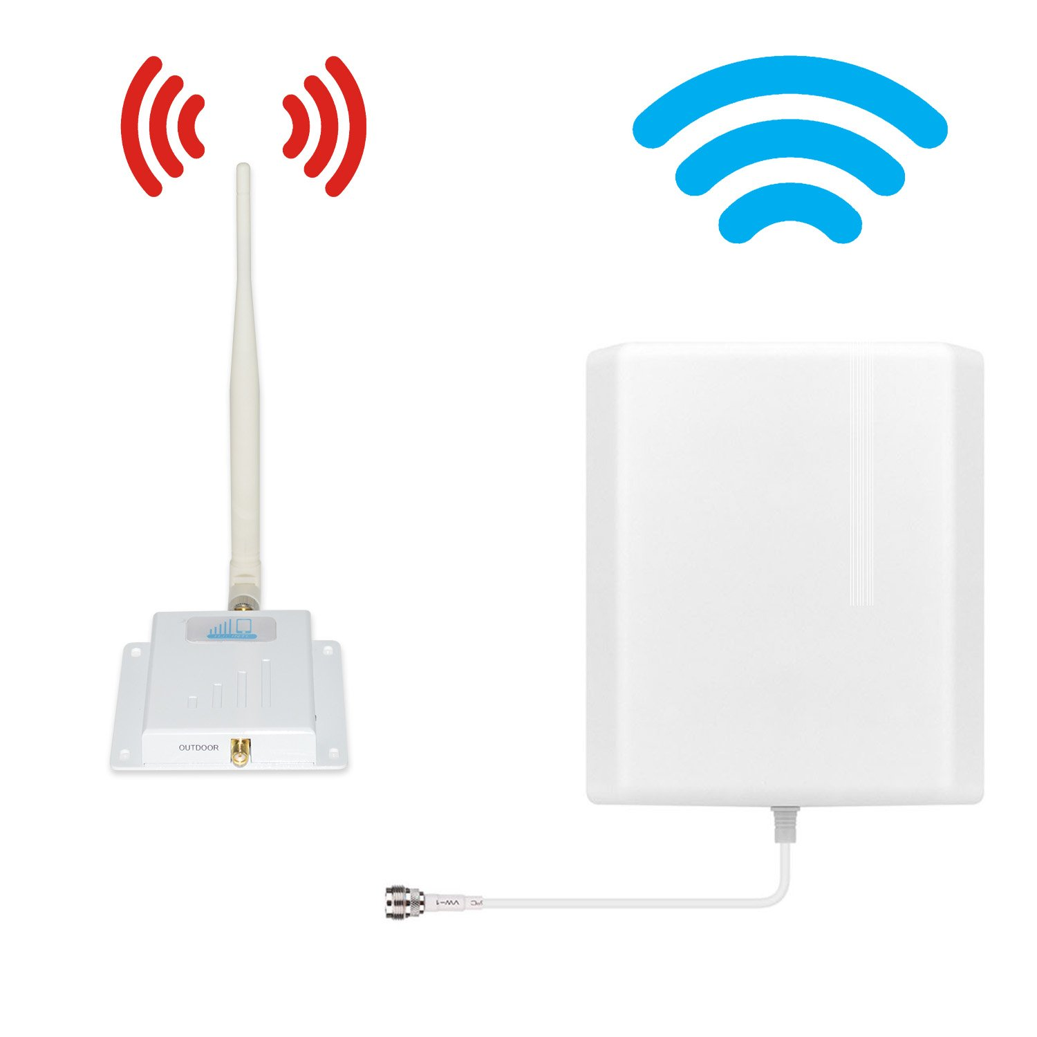 ATT T-Mobile Cell Phone Signal Booster 4G Lte Cell Signal Booster HJCINTL FDD 700MHz Home Mobile Phone Signal Booster Amplifier Kit with Panel/Whip