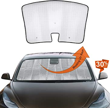 Car Custom Fit Sun Shade Auto Front Reflective Folding Sun Shade for Tesla Model 3 Accessories 2018 2019 Model 3 Windshield Sunshade UV and Sun Protection Silver