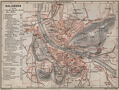 Amazon Com Salzburg Antique Town City Plan Stadtplan Austria