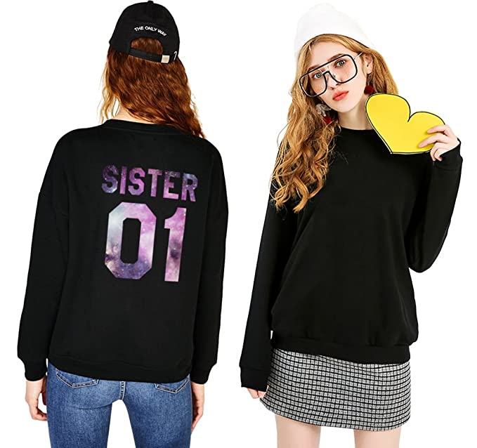 Sister 01 Sweatshirts Best Friends Sweater for 2 Round Neck Matching Pullover Funny Black at Amazon Womens Clothing store:
